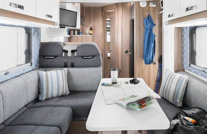 New Swift range 2 and 4 berth motorhome hire vehicle interior in Devon