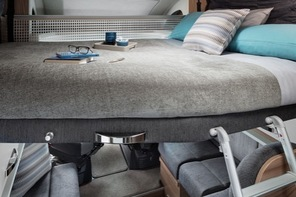Drop down motorhome hire bed with Duvalay mattress