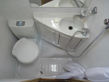 Campervan hire bathroom in South West